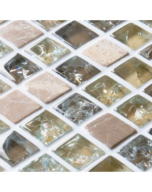 Craft Ceramics Starburst Light Brown Mix Glass and Stone Mosaic Tile