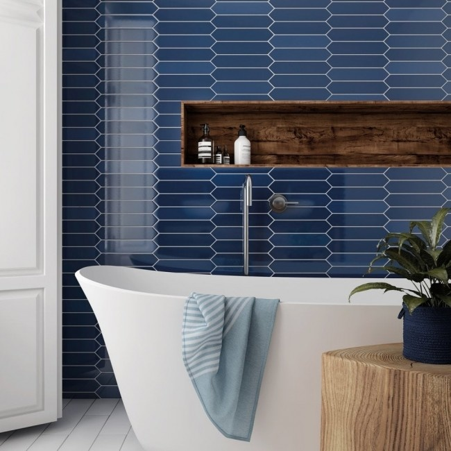 Concorde Blue Tile 300x100mm Luxury Tiles, Navy Blue Bathroom Tiles