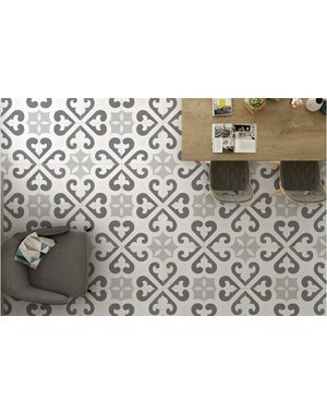 Luxury Tiles Nouvelle Grey Pattern floor and wall tile 450x450mm