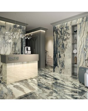 Luxury Tiles Atlantis Blue Marble Effect Tile Polished Tile 120x120cm