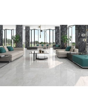 Luxury Tiles Sky Grey Marble Effect 750x750mm Polished Tile