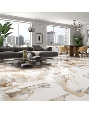 Luxury Tiles Piero Gold Creama Marble Effect Porcelain Tile