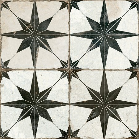 Luxury Tiles Astral Star Black patterned tiles 45 x 45cm