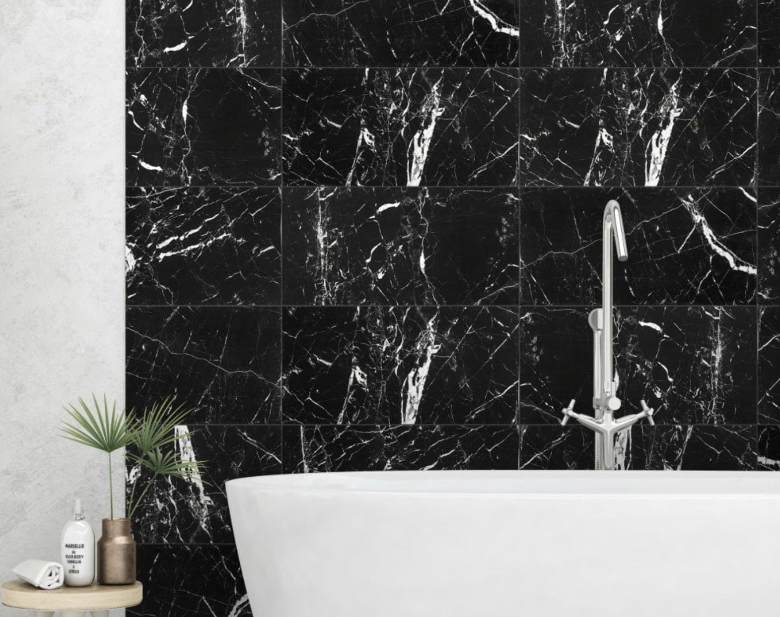 White Gold Jet Black Marble Effect 600x300mm Wall Tile Luxury Tiles