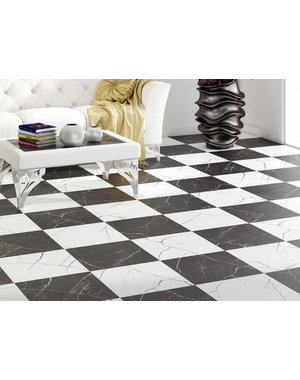 Luxury Tiles Checkered Marble Black Wall & Floor Tile 450x450mm
