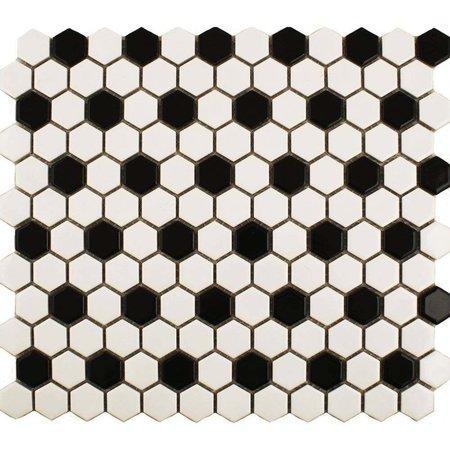 Luxury Tiles Shapes Hexagon Gloss White Black Mosaic Tile