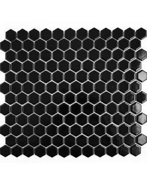 Luxury Tiles Black Hexagon Gloss White Black Mosaic Tile