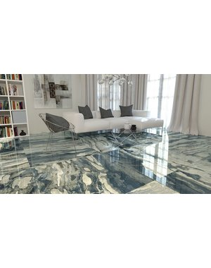 Luxury Tiles Atlantis Blue Marble Effect Tile Polished Tile 120x120cm