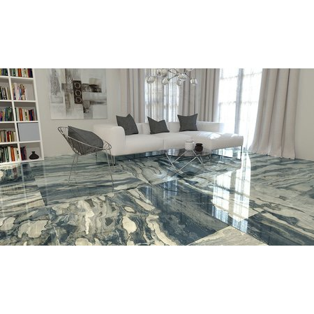 Luxury Tiles Atlantis Blue Marble Effect Wall and Floor Tile 1200x1200mm