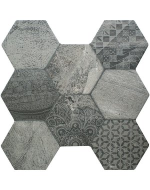 Luxury Tiles Ocean Grey Decor Hexagon Tile