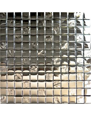 Luxury Tiles Acqua Chrome Square Glass Mosaic Tile