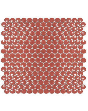 Luxury Tiles Cherry Red Penny Button Mosaic Tile