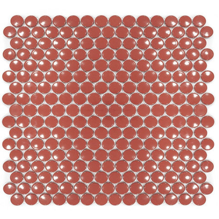 Luxury Tiles Cherry Red Penny Button Mosaic Tile 300x300mm