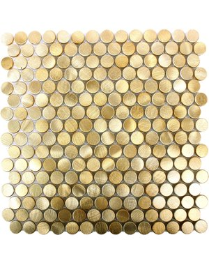 Luxury Tiles Luxor Gold Penny Mosaic Tile 30x30cm
