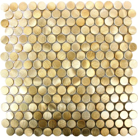 Luxury Tiles Luxor Gold Metal Penny Mosaic Tile 300x300mm