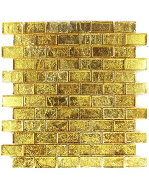 Luxury Tiles Alexandra Gold Frosted Glass Brick Mosaic Tile 300x300mm