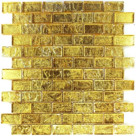 Luxury Tiles Alexandra Gold Frosted Glass Brick Mosaic Tile 30x30cm