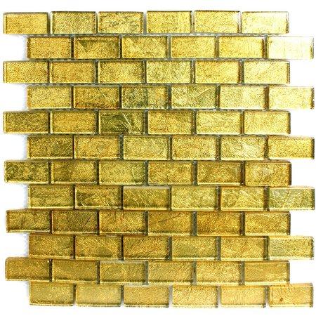 Luxury Tiles Alexandra Gold Glass Brick Mosaic Tile 30x30cm