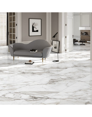 Luxury Tiles Natural Calacatta Marble Effect Porcelain 600x600mm Tile