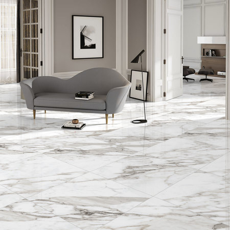 Luxury Tiles Natural Calacatta Marble Effect Polished Porcelain 60x60cm Wall and Floor Tile
