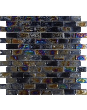 Luxury Tiles Shimmer Black Glass Brick  Mosaic Tile