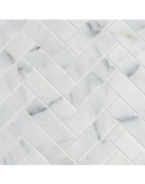 Luxury Tiles Authentic Calacatta Honed Marble Herringbone Tile