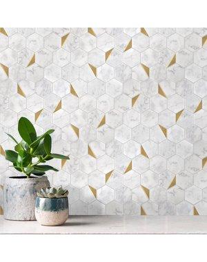 Luxury Tiles Gold Hexagon Marble Mosaic Tile