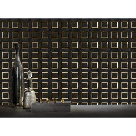 Luxury Tiles Black Nero Marble Effect Gold Mosaic Tile
