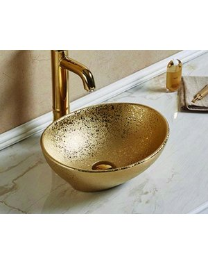 Luxury Tiles Gold Crackle Counter Top Basin