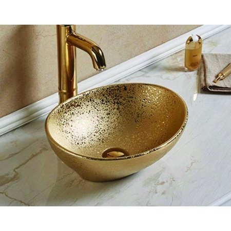 Luxury Tiles Gold Crackle Ceramic Counter Top Basin
