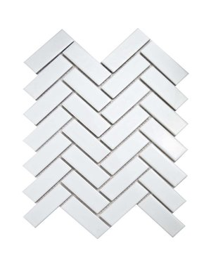 Luxury Tiles White Herringbone Wall and Floor Mosaic Tile
