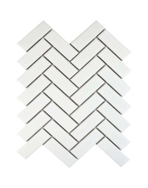 Luxury Tiles Matt White Herringbone Wall and Floor Mosaic Tile