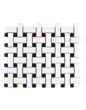 Interlocking Matt White & Black Mosaic Tile