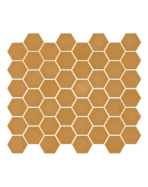 Ca' Pietra Brasserie Hexagon Mosaic Mustard Glass Tile
