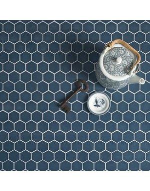 Ca' Pietra Brasserie Hexagon Mosaic Blue Glass Tile