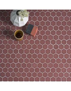 Ca' Pietra Brasserie Hexagon Mosaic Burgundy Glass Tile