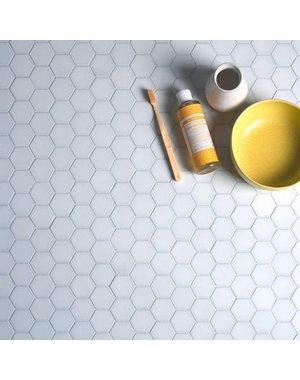 Ca' Pietra Brasserie Hexagon Mosaic White Glass Tile