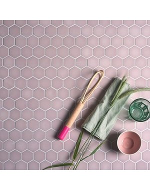 Ca' Pietra Brasserie Hexagon Mosaic Pink Glass Tile