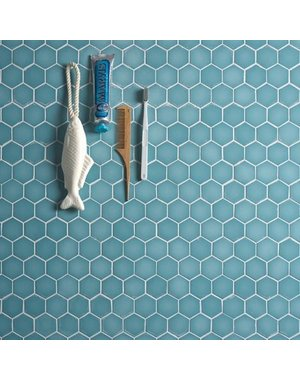 Ca' Pietra Brasserie Hexagon Mosaic Turquoise Glass Tile