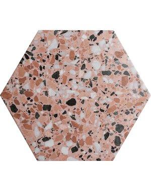 Terrazzo Hexagon Blush Porcelain Tile