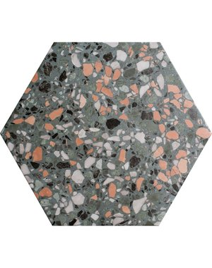 Terrazzo Hexagon Moss Porcelain Tile