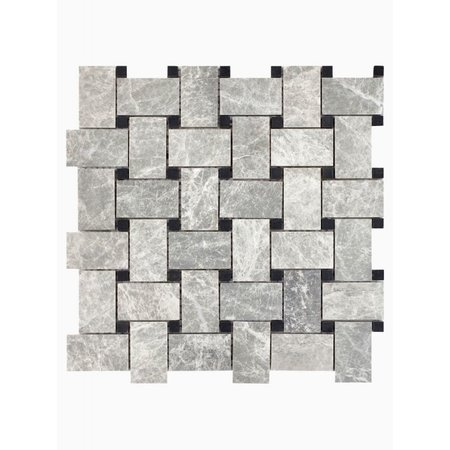 Luxury Tiles Misty Grey Marble Woven Mosaic Wall and Floor Tile