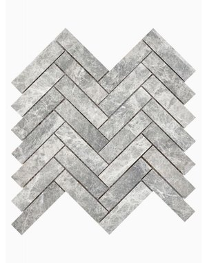 Luxury Tiles Misty Grey Marble Herringbone Mosaic Wall and Floor Tile