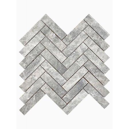 Luxury Tiles Misty Grey Marble Herringbone Mosaic Wall and Floor Tile