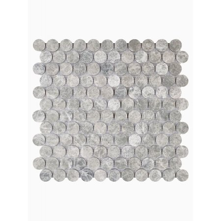 Luxury Tiles Misty Grey Marble Circle Mosaic Wall and Floor Tile