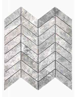 Luxury Tiles Misty Grey Marble Chevron Mosaic Wall and Floor Tile
