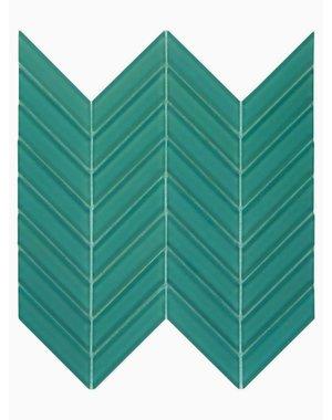 Luxury Tiles Isodore Jade Green Chevron Mosaic Tile