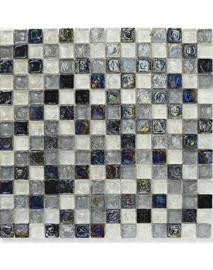 British Ceramic Tiles Hammered Glass Shades Of Grey Mix Mosaic 305x305mm BCT38351