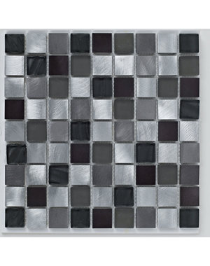 British Ceramic Tiles Mosaic metallic black gloss tile 305mm x 305mm BCT38399
