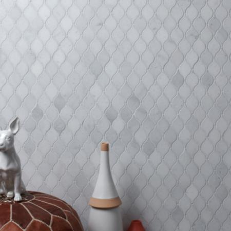 Luxury Tiles Long Island Marble Honed Teardrop Mosaic Tile